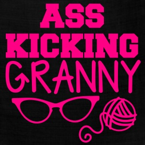ass kicking granny with knitting ball of wool T-Shirts - Bandana
