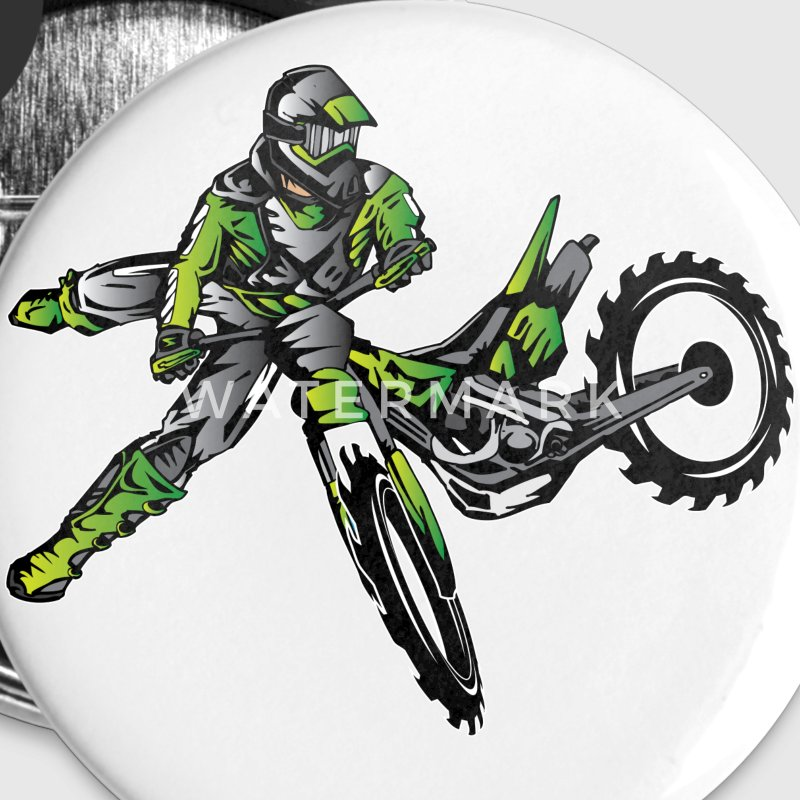 Kawasaki Freestyle Dirt Bike Buttons - Large Buttons