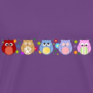 Cute Colorful Owls and flowers Hoodies - Men's Premium T-Shirt