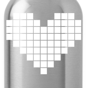 Pixel Heart - White - Water Bottle