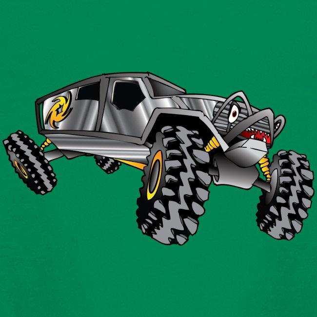 cartoon 4x4 rock crawler race truck, grey
