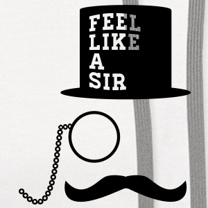 sir monocle top hat mustache man Women's T-Shirts - Contrast Hoodie