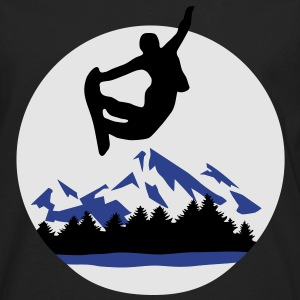 Snowboarder and Mountains, Snowboarding Hoodies - Men's Premium Long Sleeve T-Shirt