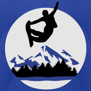 Snowboarder and Mountains, Snowboarding Hoodies - Men's T-Shirt by American Apparel