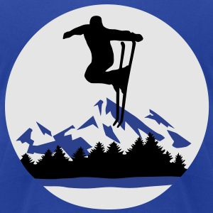 Ski and Mountains, skiing Hoodies - Men's T-Shirt by American Apparel