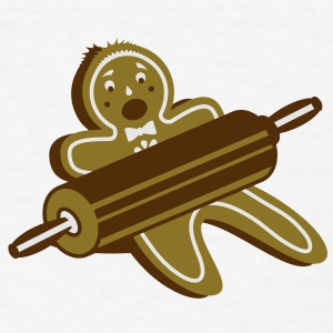 A rolling pin and a gingerbread man  Buttons - Men's T-Shirt