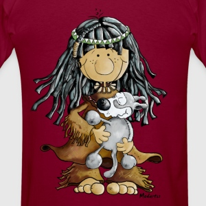 Little Indian Girl With A Grey Wolf Puppie Sweatsh - Men's T-Shirt