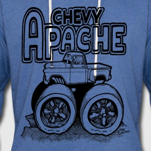 1956 Chevy Apache Pickup Monster Truck - Unisex Lightweight Terry Hoodie