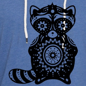 A raccoon in the style of Sugar Skulls T-Shirts - Unisex Lightweight Terry Hoodie