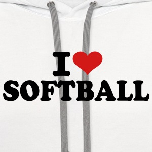 I love Softball Kids' Shirts - Contrast Hoodie