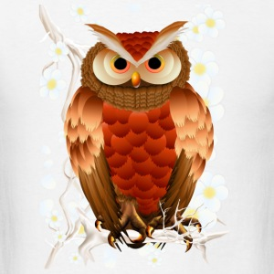 Bright Brown Owl-White Blooms - Men's T-Shirt