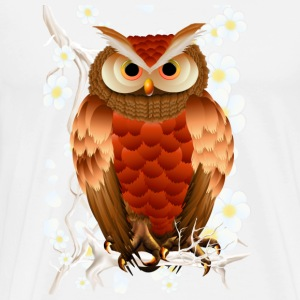 Bright Brown Owl-White Blooms - Men's Premium T-Shirt