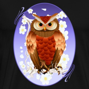 Bright Brown Owl-White Blooms Oval - Men's Premium T-Shirt