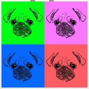 Men's Pug Pop Art T-Shirt - Contrast Hoodie