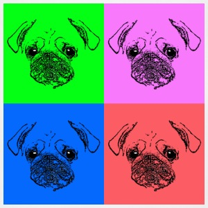 Men's Pug Pop Art T-Shirt - Adjustable Apron