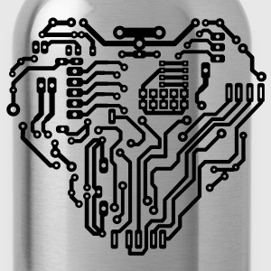 Heart printed circuit board Women's T-Shirts - Water Bottle