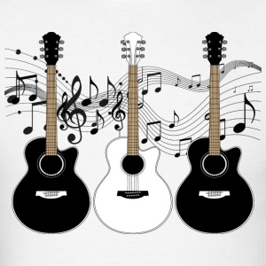 Black and White Acoustic Guitars - Men's T-Shirt