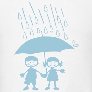 Cute couple on a rainy day iPad 2/3 Cover - Men's T-Shirt