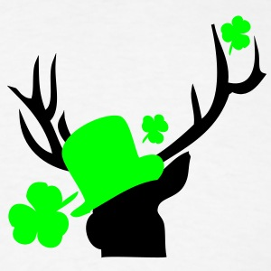 Deer in green hat st.Patty's day Women's Longer Le - Men's T-Shirt
