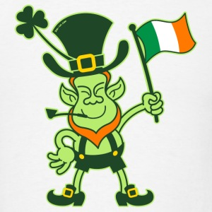 Proud Leprechaun Waving an Irish Flag Hoodies - Men's T-Shirt