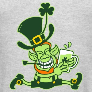 Green Leprechaun Running with Beer Sweatshirts - Men's T-Shirt