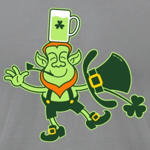 Leprechaun Balancing a Glass of Beer on his Head L - Men's T-Shirt by American Apparel