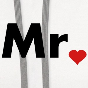 Mr with heart dot - part of Mr and Mrs set T-Shirts - Contrast Hoodie