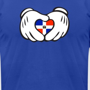 dominican heart hand Hoodies - Men's T-Shirt by American Apparel