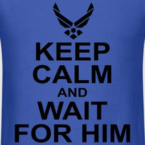 keep calm and wait for him airforce Long Sleeve Shirts - Men's T-Shirt