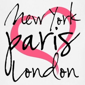 New York, Paris, London with Heart Women's T-Shirts - Adjustable Apron