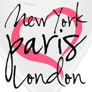New York, Paris, London with Heart Women's T-Shirts - Bandana