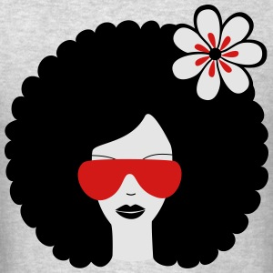 Curly haired sommer girl with flower Long Sleeve Shirts - Men's T-Shirt
