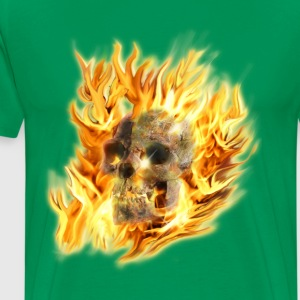 Skull & Fiery Flames - Men's Premium T-Shirt