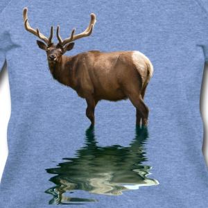 Bull Elk Wildlife Design - Women's Wideneck Sweatshirt