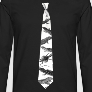 Lizard Dawkins' Necktie by Tai's Tees - Men's Premium Long Sleeve T-Shirt