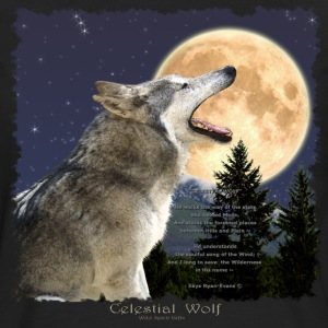 Celestial Wolf ~ Howling Gray Wolf & Moon - Men's Premium Long Sleeve T-Shirt