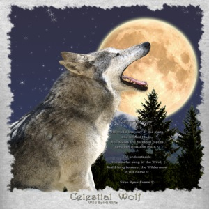 Celestial Wolf ~ Howling Gray Wolf & Moon - Men's T-Shirt