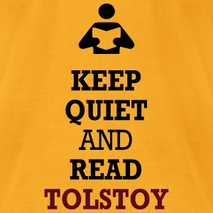 Keep Quiet and Read Tolstoy Bags  - Men's T-Shirt by American Apparel