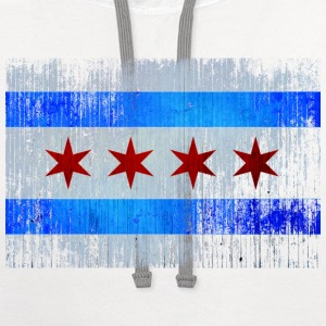 Chicago Flag Faded Chicago Hoody Women's T-Shirts - Contrast Hoodie
