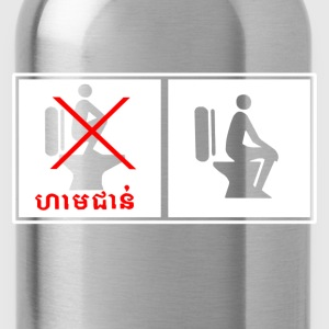 Funny Cambodia Toilet Sign - Water Bottle