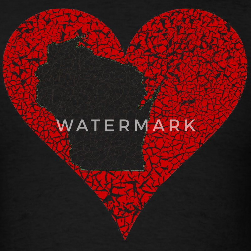 Wisconsin Heart Milwaukee Mart T-Shirts - Men's T-Shirt