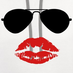 Aviator Sunglasses and Kiss T-Shirts - Contrast Hoodie