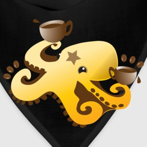 octopus coffee barista with coffee beans Women's T-Shirts - Bandana