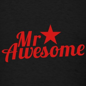 MR AWESOME with a sexy RED star Caps - Men's T-Shirt
