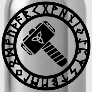 Thors Hammer, Runes, Triquetra, Mjolnir, Pagan T-Shirts - Water Bottle