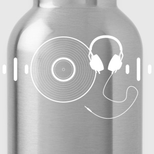Headphones with Vinyl Record in White - Water Bottle