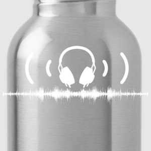 Headphones with Soundwaves and Audio in White - Water Bottle