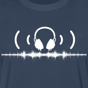 Headphones with Soundwaves and Audio in White - Men's Premium Long Sleeve T-Shirt