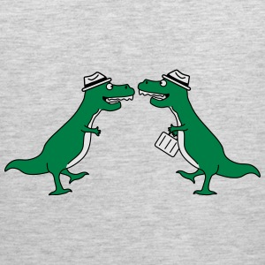 Two Welcome Handshake Businessman T-Rex Long Sleeve Shirts - Men's Premium Tank