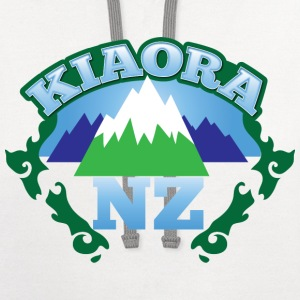 kiaora new ZEALAND NZ with mountains Kids' Shirts - Contrast Hoodie